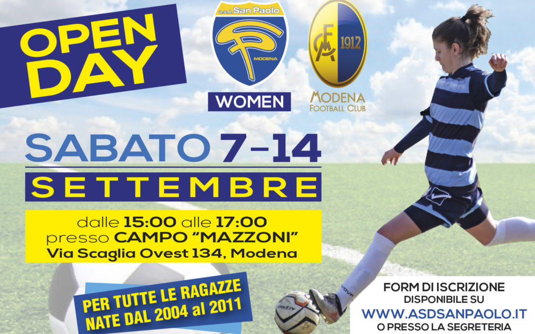 Open day a settembre e al via la partnership con il Modena FC 1912